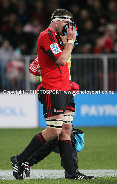Crusaders player Kieran Read with a bleeding nose. Super Rugby game between the Crusaders and the Highlanders. The new AMI Christchurch Stadium at Rugby League Park, Friday 01 June 2012. Photo : Joseph Johnson / photosport.co.nz