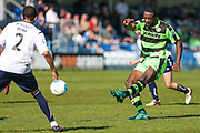 Forest Green Rovers Shamir Mullings(18) shoots at goal misses the target during the Vanarama National League match between Guiseley  and Forest Green Rovers at Nethermoor Park, Guiseley, United Kingdom on 8 April 2017. Photo by Shane Healey.