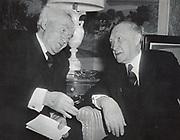 Israeli Prime Minister David Ben Gurion meeting with West German Chancellor Konrad Adenauer in New York, 14 March 1960.