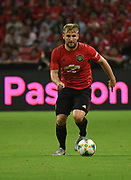 Manchester United's Luke Shaw during an International Champions Cup game won by Manchester United 1-0, Saturday, July 20, 2019, in Singapore. (Kim Teo/Image of Sport)