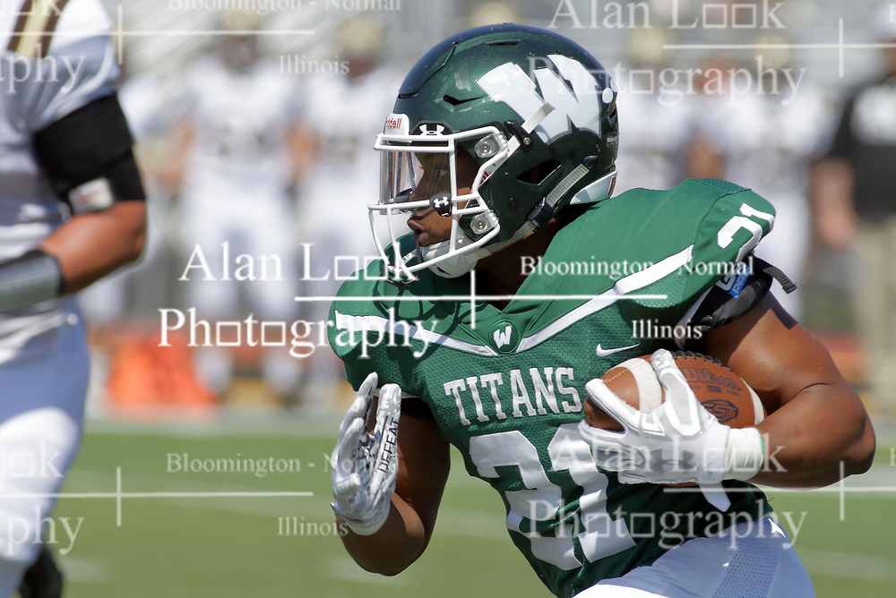 09 September 2017:   Matese Scott during an NCAA division 3 football game between the Nebraska Wesleyan PRAIRIE WOLVES and the Illinois Wesleyan Titans in Tucci Stadium on Wilder Field, Bloomington IL