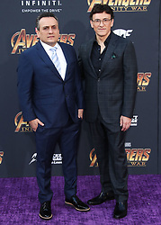 HOLLYWOOD, LOS ANGELES, CA, USA - APRIL 23: World Premiere Of Disney And Marvel's 'Avengers: Infinity War' held at the El Capitan Theatre, Dolby Theatre and TCL Chinese Theatre IMAX on April 23, 2018 in Hollywood, Los Angeles, California, United States. 23 Apr 2018 Pictured: Joe Russo, Anthony Russo. Photo credit: Xavier Collin/Image Press Agency / MEGA TheMegaAgency.com +1 888 505 6342