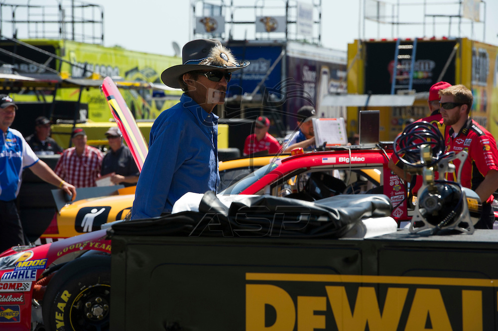 Brooklyn, MI - JUN 15, 2012: Richard Petty in the garage area prior to practice runs for the Quicken Loans 400 race at the Michigan International Speedway in Brooklyn, MI.