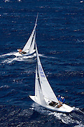 Dragon Class sailing in the Antigua Classic Yacht Regatta, Old Road Race.