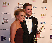 Actress Evanna Lynch and actor Jack Reynor at the IFTA Film & Drama Awards (The Irish Film & Television Academy) at the Mansion House in Dublin, Ireland, Saturday 9th April 2016. Photographer: Doreen Kennedy