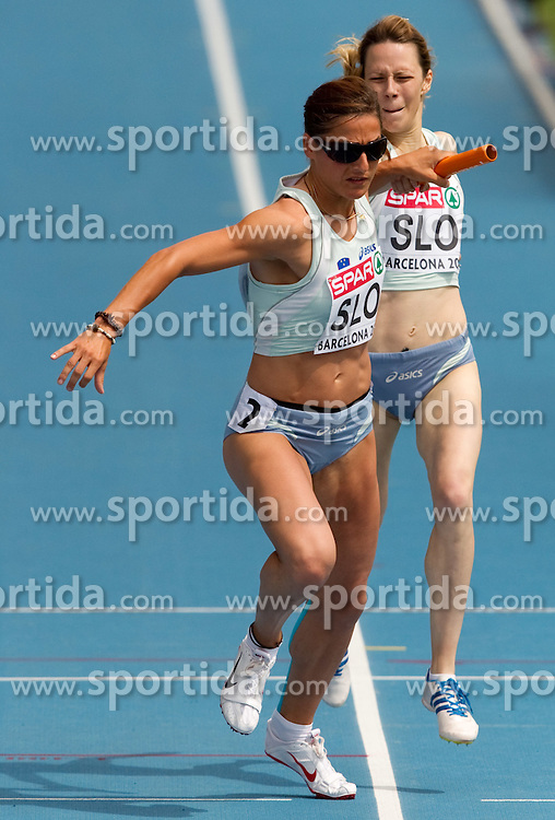 Urska Klemen competes as a fourth and Dasa Bajec competes as a third Slovenia athlete during  the 4x400m Womens Relay Heats during day five of the 20th European Athletics Championships at the Olympic Stadium on July 31, 2010 in Barcelona, Spain.  (Photo by Vid Ponikvar / Sportida)