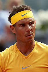May 9, 2018 - Madrid, Madrid, Spain - Rafael Nadal of Spain reacts during his match against Gael Monfils of France during day five of the Mutua Madrid Open tennis tournament at the Caja Magica on May 9, 2018 in Madrid, Spain  (Credit Image: © David Aliaga/NurPhoto via ZUMA Press)