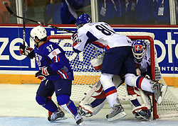 Mitja Robar of Slovenia, Marcel Hossa of Slovakia and Goalkeeper Jan Lasak of Slovakia at ice-hockey game Slovenia vs Slovakia at second game in  Relegation  Round (group G) of IIHF WC 2008 in Halifax, on May 10, 2008 in Metro Center, Halifax, Nova Scotia, Canada. Slovakia won after penalty shots 4:3.  (Photo by Vid Ponikvar / Sportal Images)