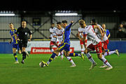 Jake Beesley plays a pass during the The FA Cup match between Solihull Moors and Rotherham United at the Automated Technology Group Stadium, Solihull, United Kingdom on 2 December 2019.