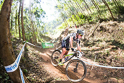 Anton Cooper making his way down the Snake Trail at the 2014 UCI Mountainbike World Cup in Pietermaritzburg, South Africa.