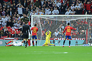England Forward Jamie Vardy scores  Englands second goal 2-0 during the International Friendly match between England and Spain at Wembley Stadium, London, England on 15 November 2016. Photo by Mark Davies.