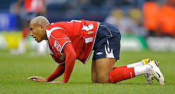 WEST BROMWICH, ENGLAND - Saturday, December 15, 2007: Charlton's Chris Iwelumo lies injured during the League Championship match against West Bromwich Albion at the Hawthorns. (Photo by David Rawcliffe/Propaganda)