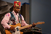 Blues guitarist Li'l Ed Williams of Li'l Ed and the Blues Imperials performing on the Blues Tent stage at the New Orleans Jazz and Heritage Festival at the New Orleans Fair Grounds Race Course in New Orleans, Louisiana, USA, 30 April 2009.