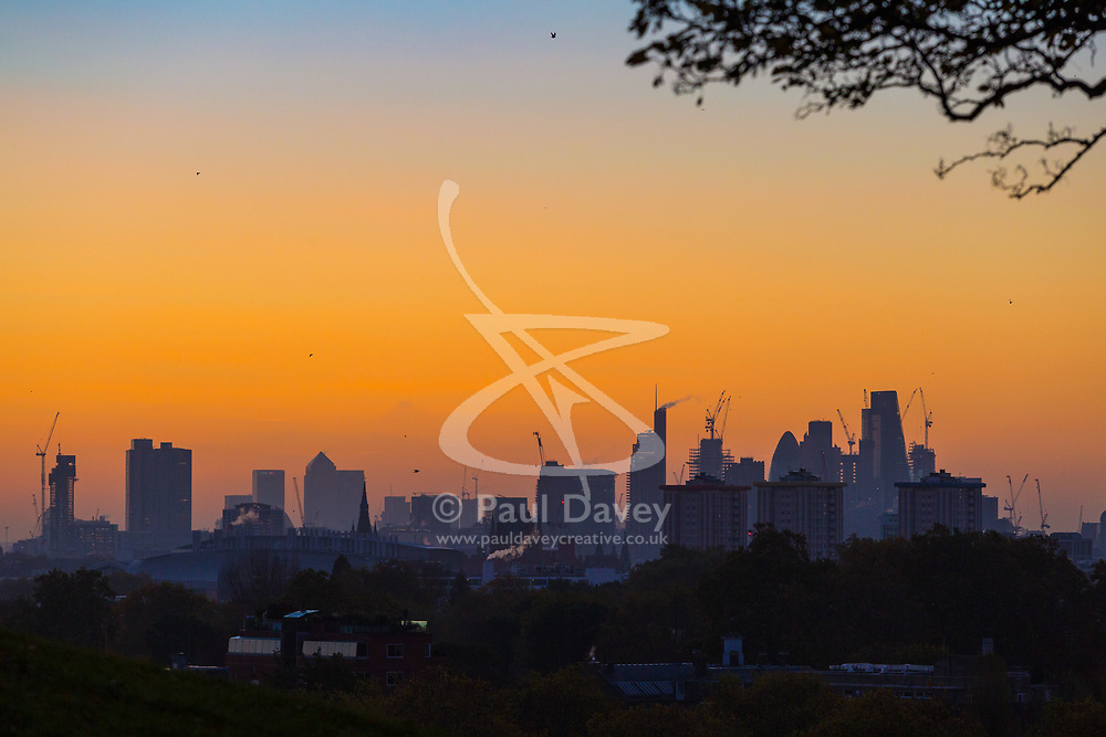 London, October 27 2017. Day breaks over London's skyline, seen from Primrose Hill. © Paul Davey