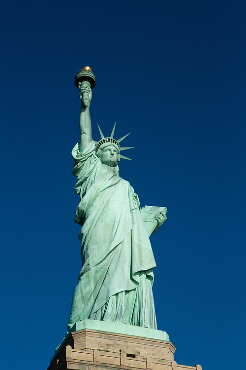 Liberty Island, NY - 9 January 2020. The statue of Liberty seen from Liberty Island.