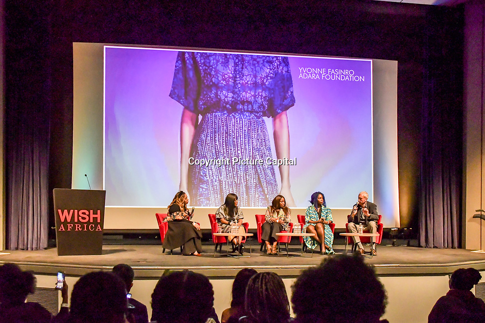 Speakers Ezzie Chidi-Ofong, Yvonne Fasinro, Reni Folawiyo, Jacqueline Shaw and David Suddens at The Business of African Fashion at WISH Africa Expo, a showcase of Pan-Africanism at Olympia Conference Centre on 9 June 2019, London, UK.