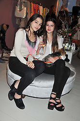 Left to right, MADDIE MILLS and ALI ANHOLT at a party at De Roemer, 14 Porchester Place, London W2 on 1st May 2013.