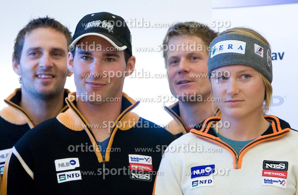 Ales Gorza, Matic Skube, Bernard Vajdic and Ana Drev of Slovenian Alpine Ski Team before new season 2008/2009, on Septembra 25, 2008, Ljubljana, Slovenia. (Photo by Vid Ponikvar / Sportal Images)