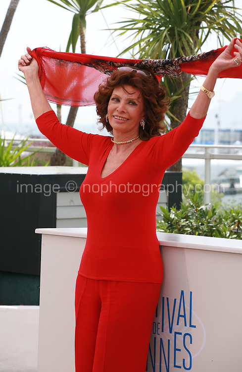 Sophia Loren and De Voce Umana team, Presents For Cannes Classics at the 67th Cannes Film Festival, Wednesday 21st  May 2014, Cannes, France.