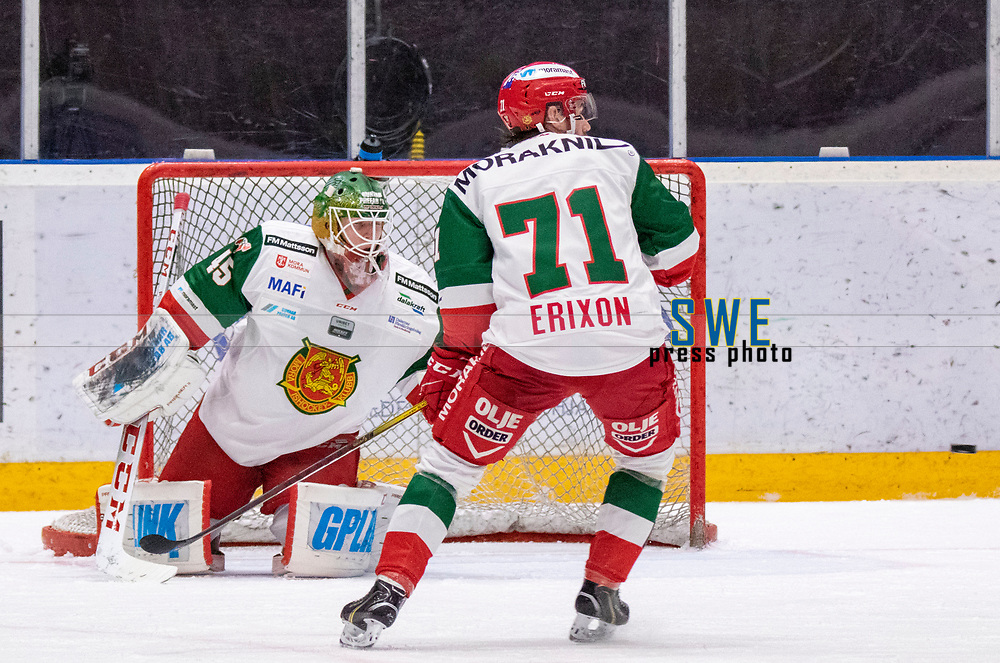 2019-12-02 | Umeå, Sweden:Mora (45) Isak Wallin with focus on the incoming puck in  HockeyAllsvenskan during the game  between Björklöven and Mora at A3 Arena ( Photo by: Michael Lundström | Swe Press Photo )<br /> <br /> Keywords: Umeå, Hockey, HockeyAllsvenskan, A3 Arena, Björklöven, Mora, mlbm191202