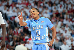 North Carolina guard Nate Britt.<br /> <br /> The University of Louisville hosted University of North Carolina, Saturday, Jan. 31, 2015 at KFC YUM Center in Louisville. Photo by Jonathan Palmer