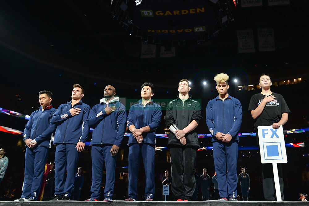August 18, 2018 - Boston, Massachussetts, U.S - From left to right, ADRIAN DE LOS ANGELES, SAM MIKULAK, DONNELL WHITTENBURG, KANJI OYAMA, COLIN VAN WICKLEN, and DONOTHAN BAILEY look to the flag during the national anthem before the final round of competition held at TD Garden in Boston, Massachusetts. (Credit Image: © Amy Sanderson via ZUMA Wire)