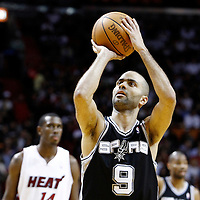 17 January 2012: San Antonio Spurs point guard Tony Parker (9) is seen at the free throw line during the Miami Heat 120-98 victory over the San Antonio Spurs at the AmericanAirlines Arena, Miami, Florida, USA.
