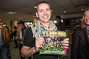 """Forest Green Rovers Chairman Dale Vince with a copy of """"We Are FGR"""" during the EFL Sky Bet League 2 match between Forest Green Rovers and Morecambe at the New Lawn, Forest Green, United Kingdom on 28 October 2017. Photo by Shane Healey."""