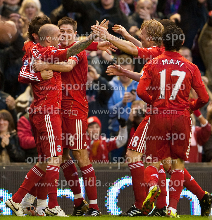 07.11.2010, Anfield Road, Liverpool, ENG, PL, Liverpool FC vs Chelsea FC, im Bild Liverpool's Fernando Torres celebrates with team-mates Raul Meireles, Dirk Kuyt and captain Steven Gerrard MBE after scoring his side's opening goal during the Premiership match at Anfield, EXPA Pictures © 2010, PhotoCredit: EXPA/ Propaganda/ D. Rawcliffe *** ATTENTION *** UK OUT!