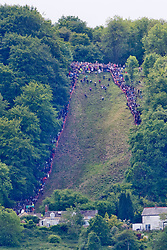 © Licensed to London News Pictures. 27/05/2019. Brockworth, Gloucestershire, UK. Participants take park in the annual traditional cheese rolling races down the very steep Coopers Hill chasing a Double Gloucester cheese. Photo credit: LNP