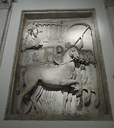 Relief depicting imperial triumph, with this panel showing the Emperor returning to Rome in a chariot, accompanied by a winged Victory. Roman, circa 2nd century AD.