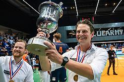 12-05-2019 NED: Abiant Lycurgus - Achterhoek Orion, Groningen<br /> Final Round 5 of 5 Eredivisie volleyball, Orion wins Dutch title after thriller against Lycurgus 3-2 / Coach Martijn van Goeverden of Orion