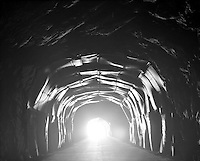 Alnes 20110910. Ettermiddagslyset skinner inn gjennom en tunnel ved Alnes p&aring; God&oslash;ya. <br /> Foto: Svein Ove Ekornesv&aring;g