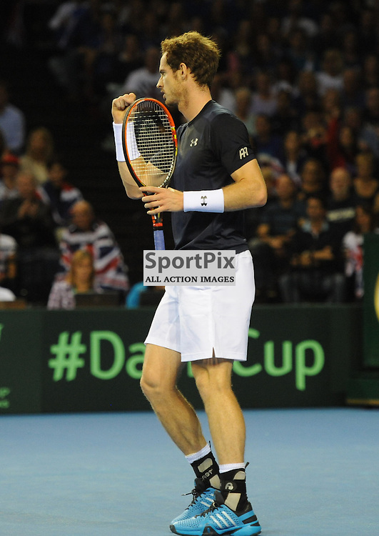 Andy Murray in action during the Great Britain v Australia, Semi Finals,  Aegeon Davis Cup by BNP Paribas, Friday 18 September 2015 (c) Angie Isac | SportPix.org.uk
