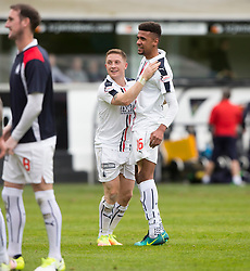 Falkirk's John Baird and Falkirk's Nathan Austin at the end. Dunfermline 1 v 2 Falkirk, Scottish Championship game played 22/4/2017 at Dunfermline's home ground, East End Park.