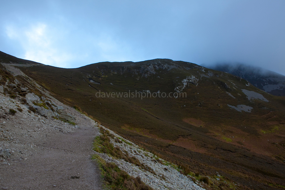 "The Pilgrim's path on Croagh Patrick Mountain, Mayo, in the West of Ireland. An important site of pilgrimage, on Reek Sunday"", the last Sunday in July every year, over 15,000 pilgrims climb it. Croagh Patrick is 764 metres (2,507 ft) high."