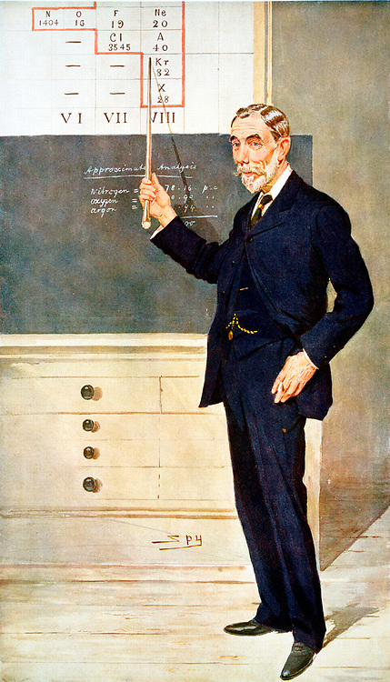 William Ramsay (1852-1916) Scottish chemist. With Rayleigh discovered inert gas Argon 1894. Nobel prize for chemistry 1904. Cartoon by 'Spy' (Leslie Ward) from 'Vanity Fair', London, December 1908, showing Ramsay lecturing