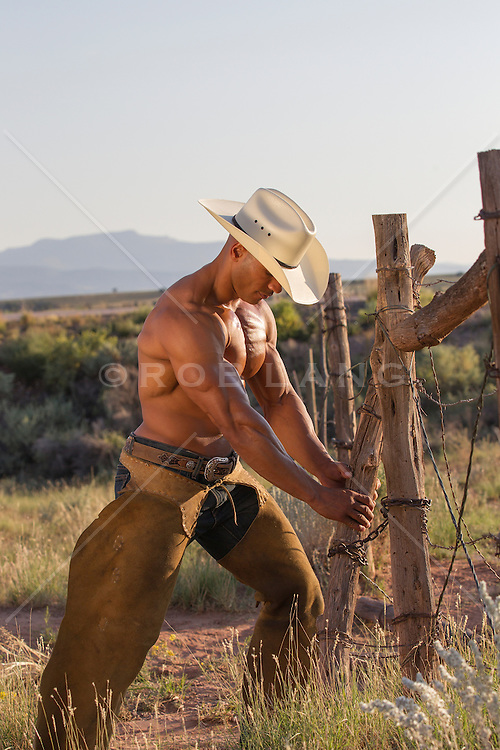 shirtless muscular cowboy fixing a fence in New Mexico