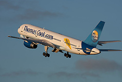 © Licensed to London News Pictures. FILE PHOTO: Thomas Cook Aircraft -  The travel retailer has announced 2,500 job cuts and planned closure of 195 branches nationwide. Photo credit : Ian Schofield/LNP