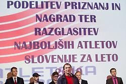 Primoz Kozmus addresses the crowd during the Slovenia's Athlete of the year award ceremony by Slovenian Athletics Federation AZS, on November 12, 2008 in Hotel Mons, Ljubljana, Slovenia.(Photo By Vid Ponikvar / Sportida.com) , on November 12, 2010.