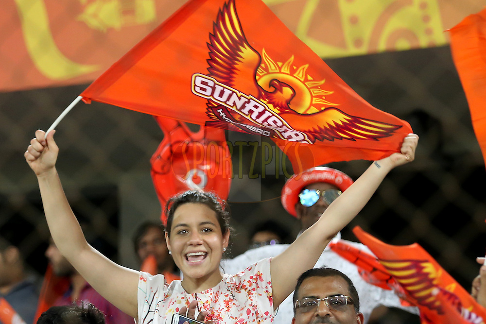 Sunrisers Hyderabad supporters  during match 22 of the Vivo IPL 2016 (Indian Premier League ) between the Sunrisers Hyderabad and the Rising Pune Supergiants held at the Rajiv Gandhi Intl. Cricket Stadium, Hyderabad on the 26th April 2016<br /> <br /> Photo by Faheem Hussain / IPL/ SPORTZPICS