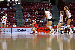 16 AUG 2008: Kasey Mollerus receives a volley and sets the ball to setter Erin Lindsey during the annual Red-White intra-squad scrimmage at Redbird Arena on the campus of Illinois State University in Normal Illinois.
