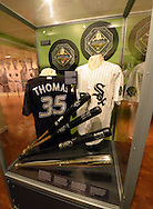 COOPERSTOWN, NY - JULY 28:  A general view of the exhibit featuring 2014 Hall of Fame inductee Frank Thomas on display at the Baseball Hall of Fame and Museum in Cooperstown, New York on July 28 2014.
