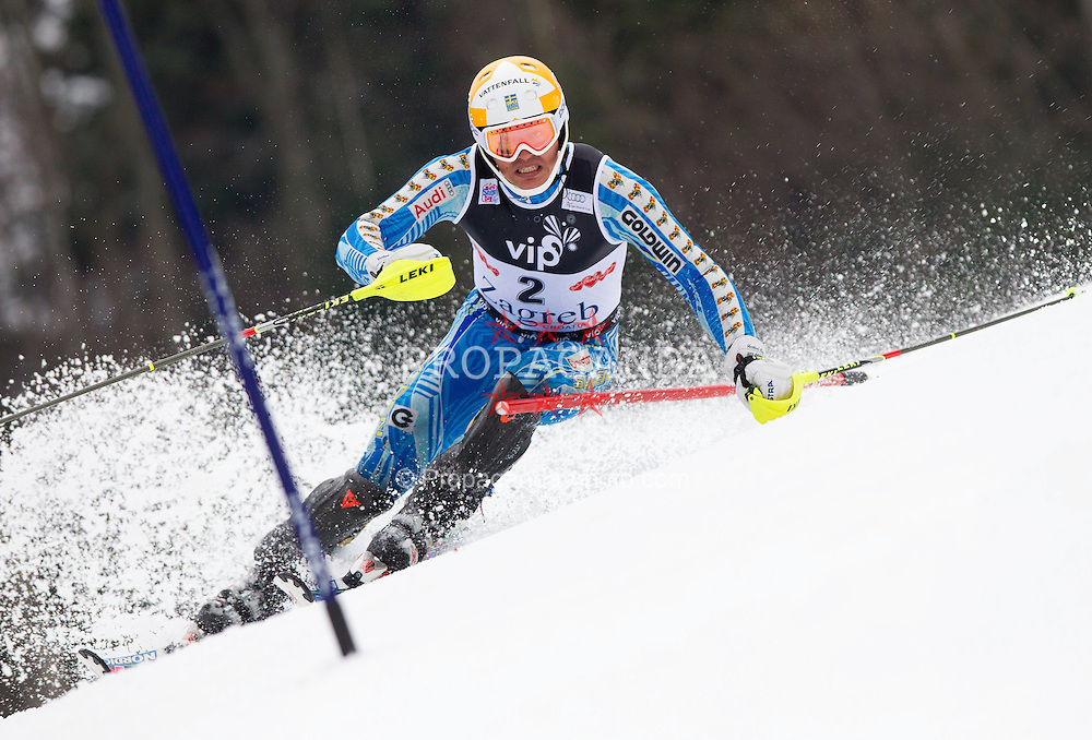 05.01.2012, Crveni Spust, Sljeme, CRO, FIS Weltcup Ski Alpin, Zagreb, Herren Slalom 1. Durchgang, im Bild MYHRER Andre (SWE) // during Mens Slalom race 1st run of FIS Ski Alpine World Cup at 'Crveni Spust' course in Sljeme, Zagreb, Croatia on 2012/01/05. EXPA Pictures © 2012, PhotoCredit: EXPA/ Sportida/ Vid Ponikvar..***** ATTENTION - OUT OF SLO *****