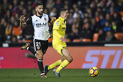 December 23, 2017 - Valencia, Spain - Martin Montoya, Pablo Fornals during the match between Valencia CF against Villarreal CF , week 17 of  La Liga 2017/18 at Mestalla stadium, Valencia, SPAIN - 17th December of 2017. (Credit Image: © Jose Breton/NurPhoto via ZUMA Press)