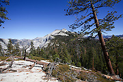 Falls trail on the way to Climbing Half Dome rock at Yosemite national Park, California USA