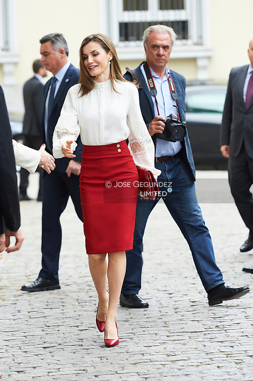 Queen Letizia of Spain attends Celebration of the 10th anniversary of the BBVA Microfinance Foundation at Headquarters of the BBVA Microfinance Foundation on May 29, 2017 in Madrid