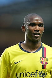 Samuel Eto'o of Barcelona in action during the UEFA Champions League Semi Final Second Leg match between Chelsea and Barcelona at Stamford Bridge on May 6, 2009 in London, England.