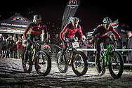 The mens final gets under way which was won by rider 96, Remo Heutischi of Switzerland during stage 4 of the first Snow Epic, the eliminator course on the Klostermatte ski slopes near Engelberg, in the heart of the Swiss Alps, Switzerland on the 16th January 2015<br /> <br /> Photo by:  Nick Muzik / Snow Epic / SPORTZPICS