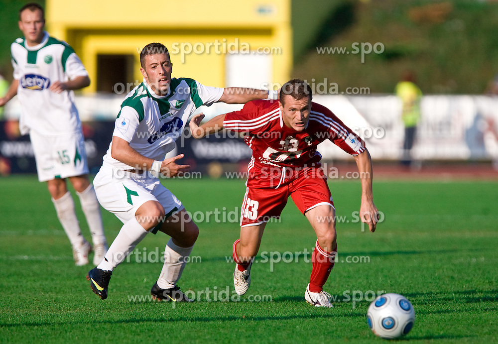 Agim Ibraimi of Olimpija vs Suvad Grabus  of Interblock at the football match Interblock vs Olimpija in 10th Round of Prva liga 2009 - 2010,  on September 23, 2009, in ZSD Ljubljana, Ljubljana, Slovenia. Olimpija won 1:0.  (Photo by Vid Ponikvar / Sportida)